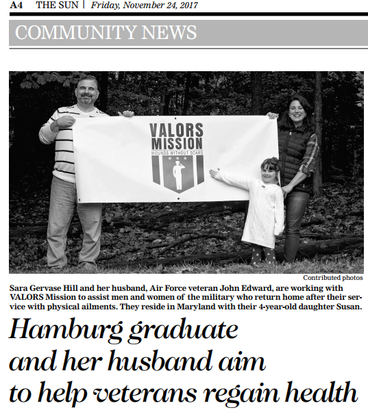 Sun Newspaper article: Hamburg graduate and her husband aim to help veterans regain health