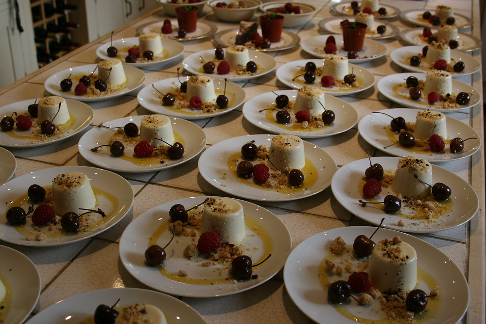 Catering in the Cotswolds, panacotta dessert by Two Simmering Pans