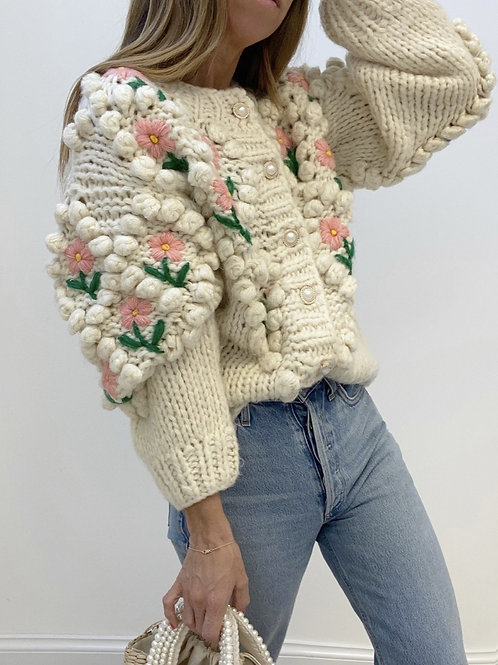 Casaco lã flor