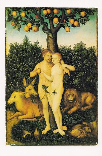 Lukas Cranach. Adam og Eva. tekst af Eri