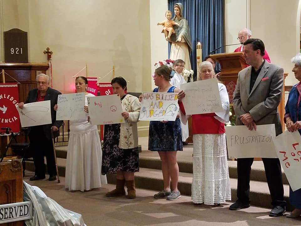 Holy Apostles cardboard testimony