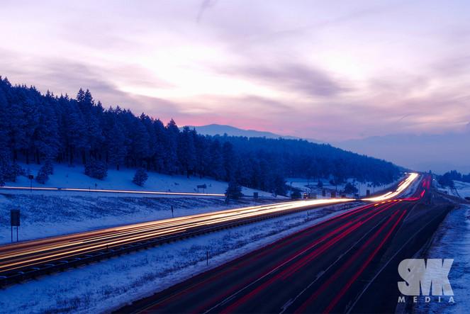 Winter Traffic Sunset