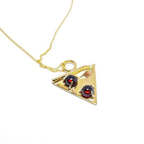 19k Yellow Gold & Ruby Pizza Pendant
