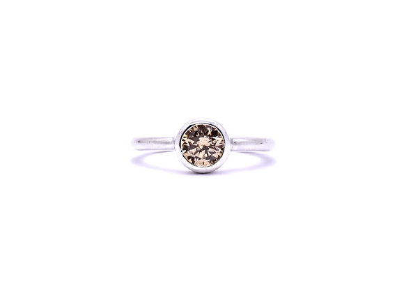 Champagne Zirconia & Silver Ring