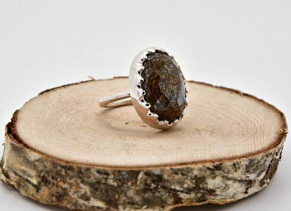 Bronzite & Silver Ring