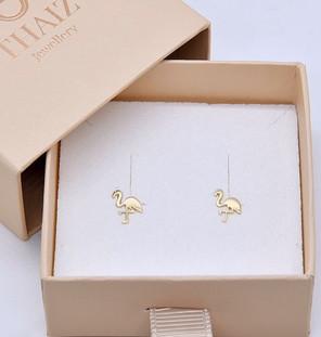 18K Yellow Gold Flamingo Studs