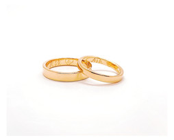 18k Gold Rings 4mm wide ring for him & 3mm for her. Simple flat shaped. Fine polished. Special message engraved following bride's handwriting style.