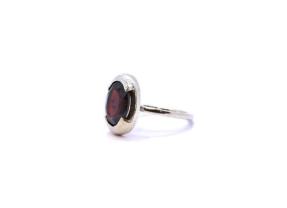 Red Garnet & Silver Ring