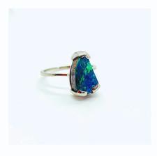 Opal & 18k White Gold Engagement Ring