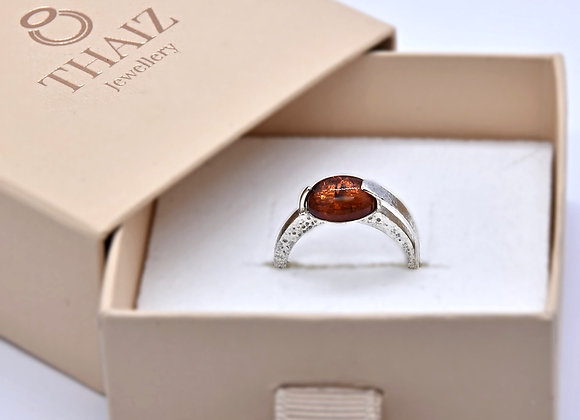 Amber & Silver Ring