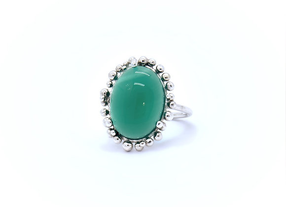 Green Agate & Silver Ring