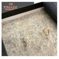 18k Yellow Gold Hoop Earrings & Yellow Sapphire