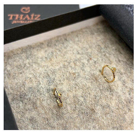18k Yellow Gold Hoop Earrings & Yellow Sapphire