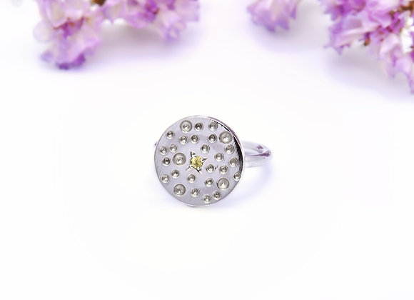 Silver & Yellow Sapphire Ring