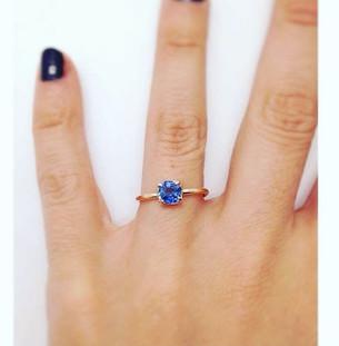 Sapphire & 18k Yellow Gold Engagement Ring