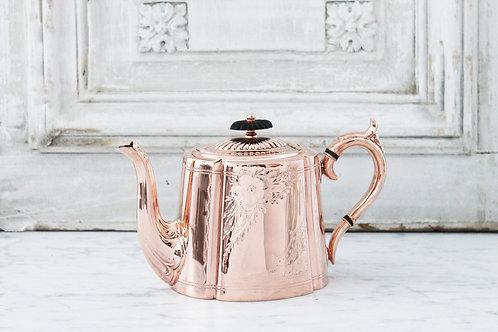 Antique English Copper & Silver Tea/Coffee Pot
