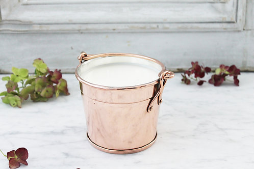 Antique Copper French Pail Candle C.1880