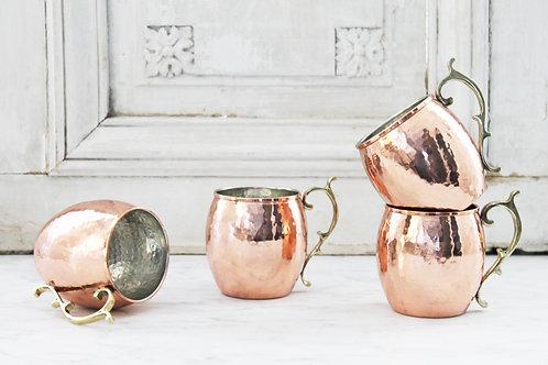 CMK Copper Mugs w/ Vintage Inspired Handles SET/4