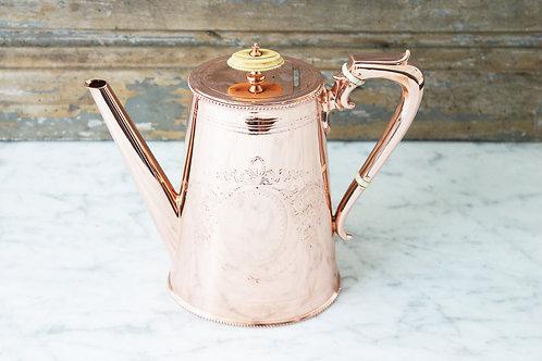Antique Tall Copper&Silver Tea/Coffee Pot, C. 1880