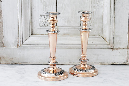 Antique French Silver & Copper Candlesticks, C. 1880