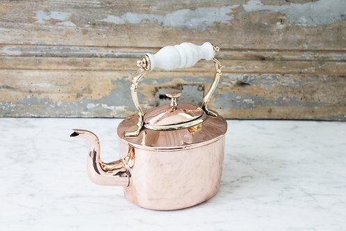 Antique English Tea Kettle W/ Porcelain Handle C.1850