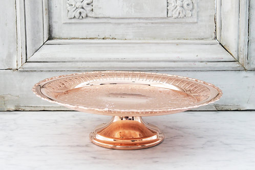 Antique Copper Etched Cake Stand, Early 20th Century