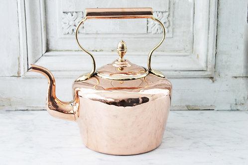 Antique Copper English Round Tea Kettle, C.1880