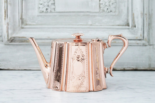 Antique Copper&Silver Tea/Coffee Pot, C. 1880