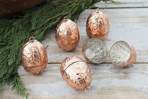 CMK Copper Embossed Egg Ornaments Set of 5