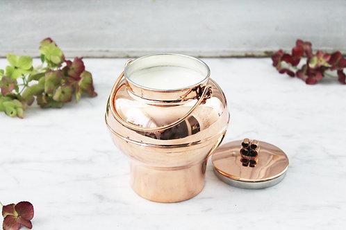 Antique Copper Swedish Honey Pot Candle c. 1920