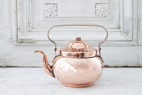 Antique French Hammered Bellied Tea Kettle, C. 1850
