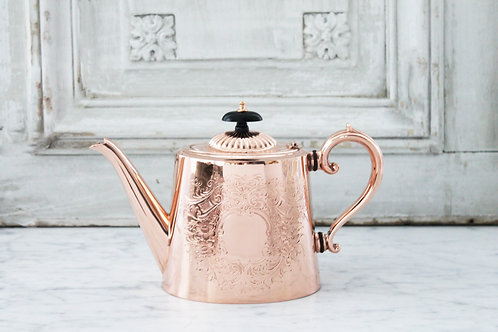 Antique English Copper&Silver Tea/Coffee Pot, C. 1880