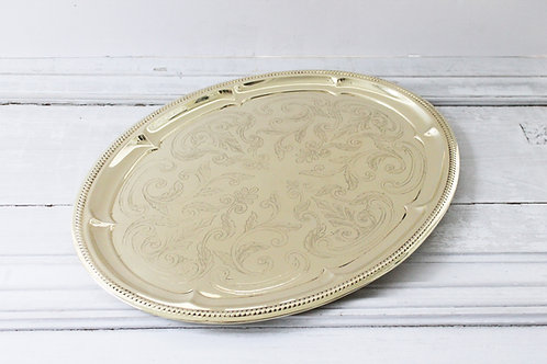 Antique English Etched Brass Tray, C.1880