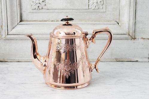 Antique French Copper&Silver Tea/Coffee Pot, C. 1880