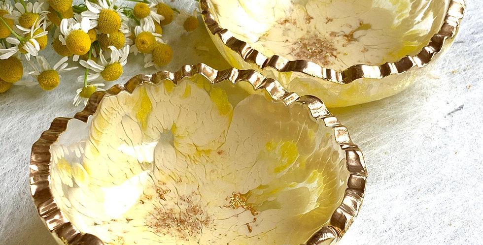 Trinket Bowl Yellow & White