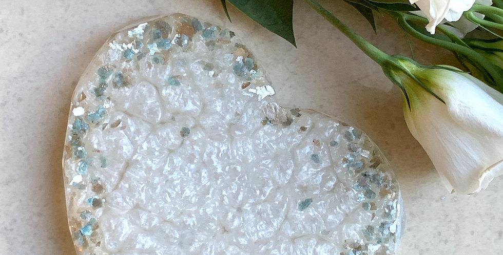 Jack Frost & White Shimmer Heart Coaster