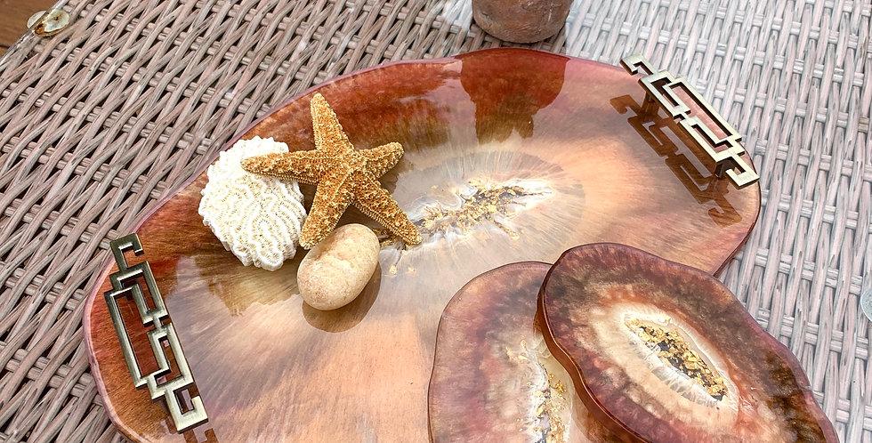 Display Tray & Coaster Set - Bronze & Gold