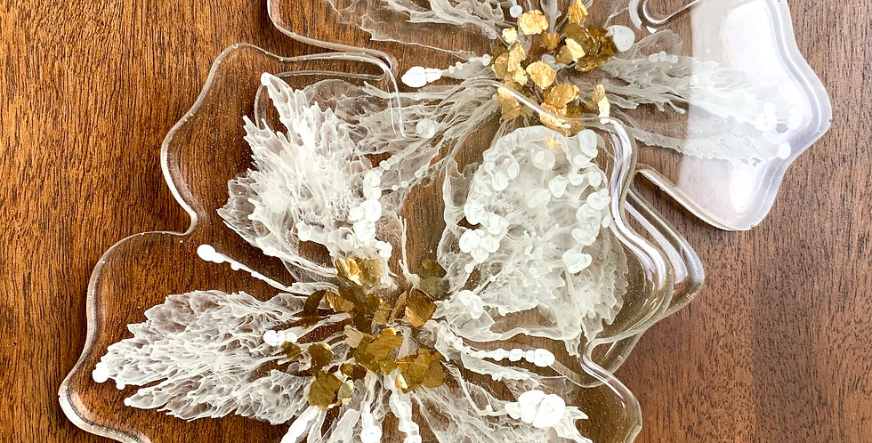 Flower Coasters White & Gold