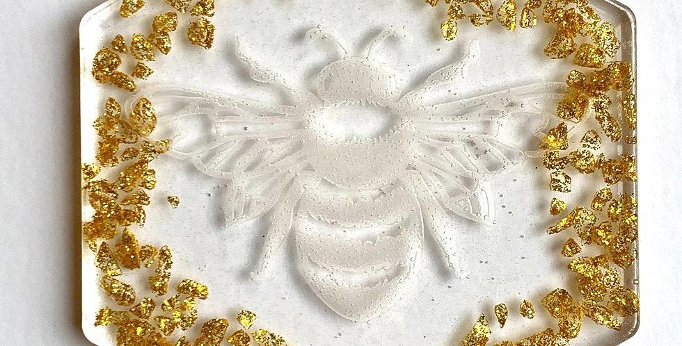Golden Glass Bee Coaster