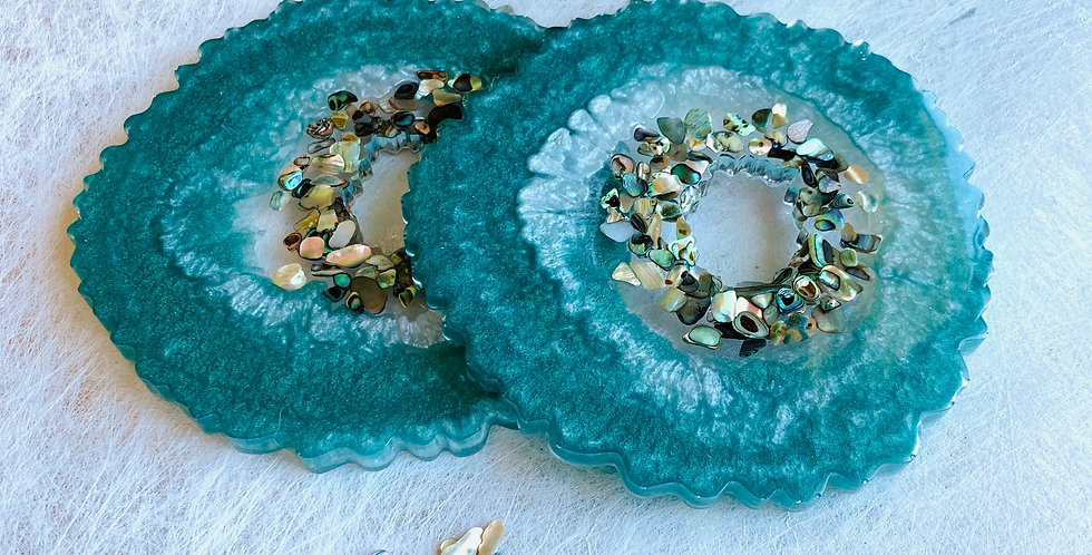 Set of 2 Coasters - Emerald & Abalone