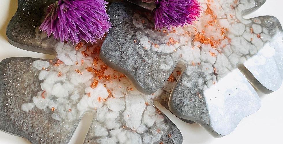 Flower Coasters Grey & Copper