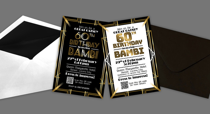 Gatsby Theme Birthday Invitation