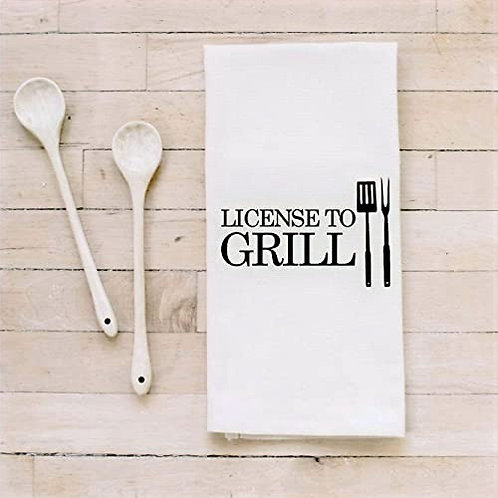License to Grill Kitchen Tea Towel