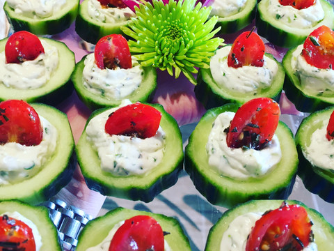 Cucumber Cups w/ Herbed Cream Cheese
