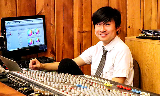 Matthew and mixer console.jpeg