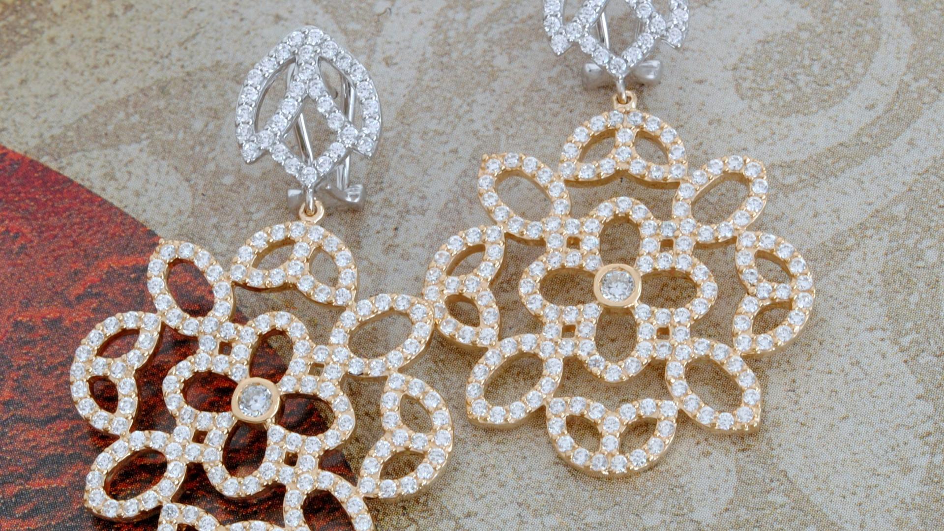 Aretes Oro Blanco  _ayelen_ Flor Oro Ros