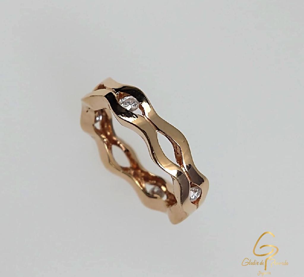 Argolla O.R 18k Ondas Diamantes