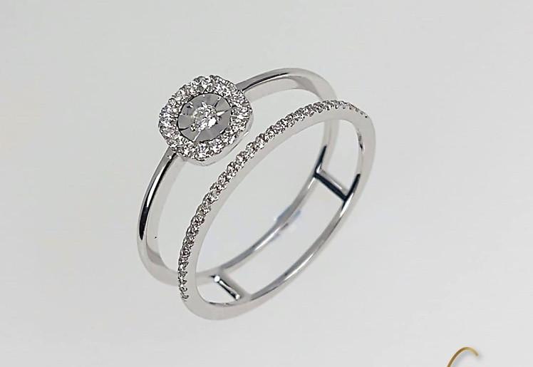 Anillo Oro Blanco 18k Prenda Y Pisaprenda Diamantes