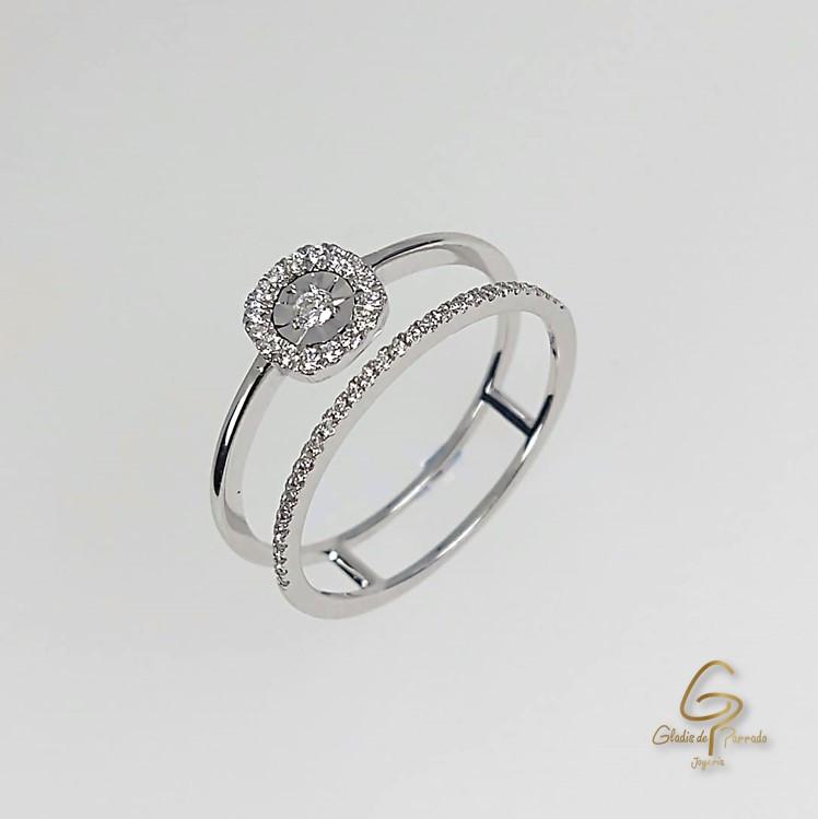 Anillo O.B 18k Prenda Y Pisaprenda Diamantes