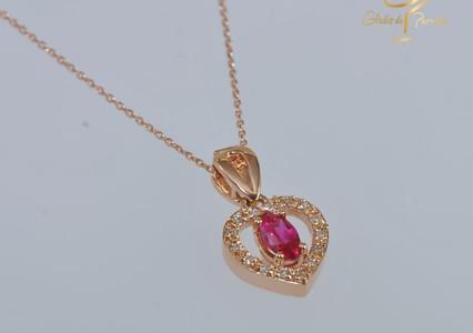 Oro Rosa 18k Corazon Centro Rubi